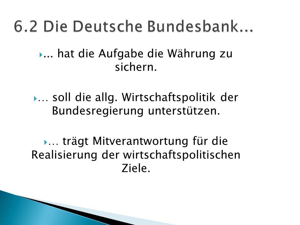... hat die Aufgabe die Währung zu sichern. … soll die allg. Wirtschaftspolitik der Bundesregierung unterstützen. … trägt Mitverantwortung für die Rea