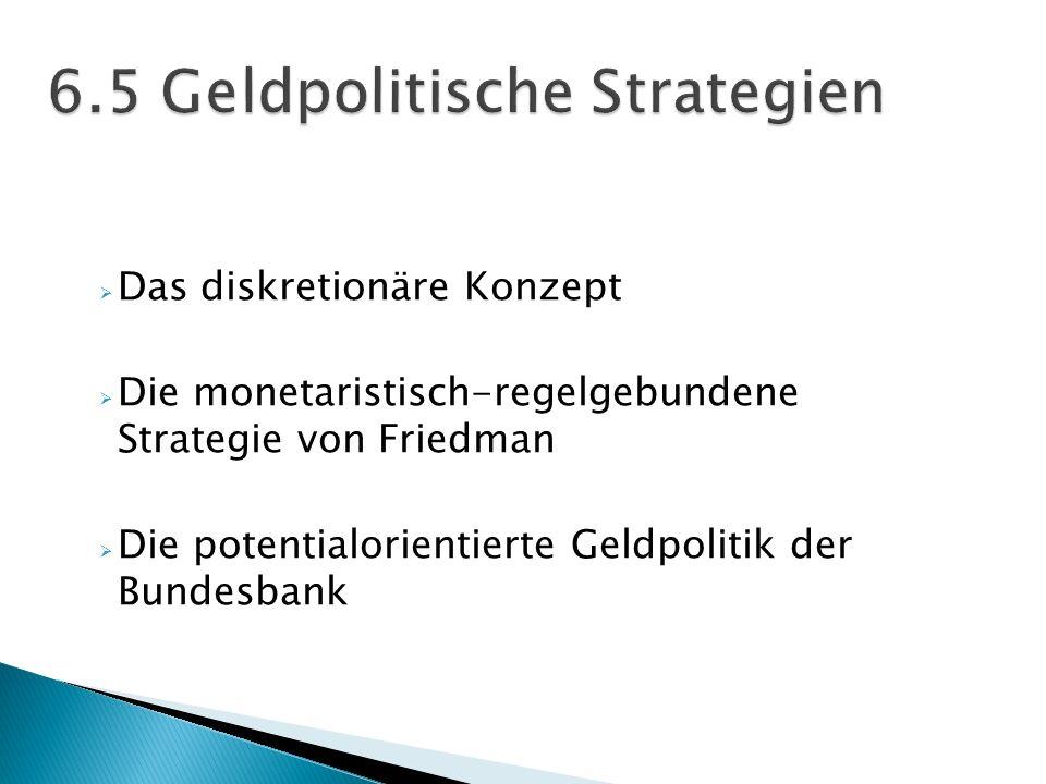 Das diskretionäre Konzept Die monetaristisch-regelgebundene Strategie von Friedman Die potentialorientierte Geldpolitik der Bundesbank