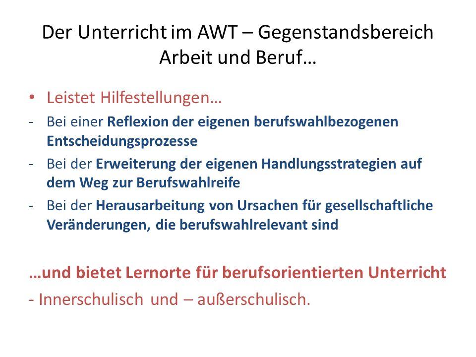 Der Unterricht im AWT – Gegenstandsbereich Arbeit und Beruf… Leistet Hilfestellungen… -Bei einer Reflexion der eigenen berufswahlbezogenen Entscheidun
