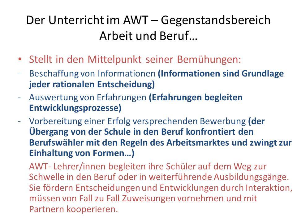 Der Unterricht im AWT – Gegenstandsbereich Arbeit und Beruf… Stellt in den Mittelpunkt seiner Bemühungen: -Beschaffung von Informationen (Informatione