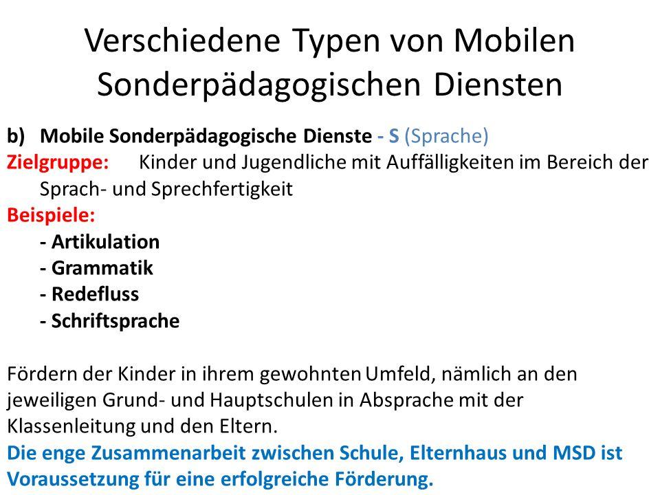 Verschiedene Typen von Mobilen Sonderpädagogischen Diensten b)Mobile Sonderpädagogische Dienste - S (Sprache) Zielgruppe: Kinder und Jugendliche mit A