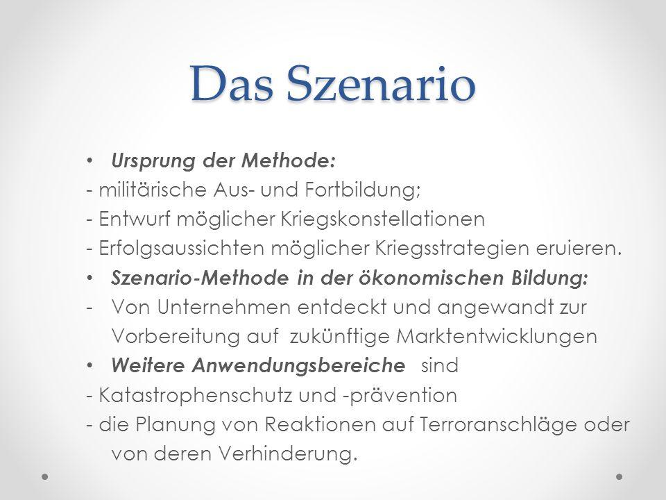 Das Szenario Phasen / Verlaufsstruktur von Szenarien : 1.) Modell d.