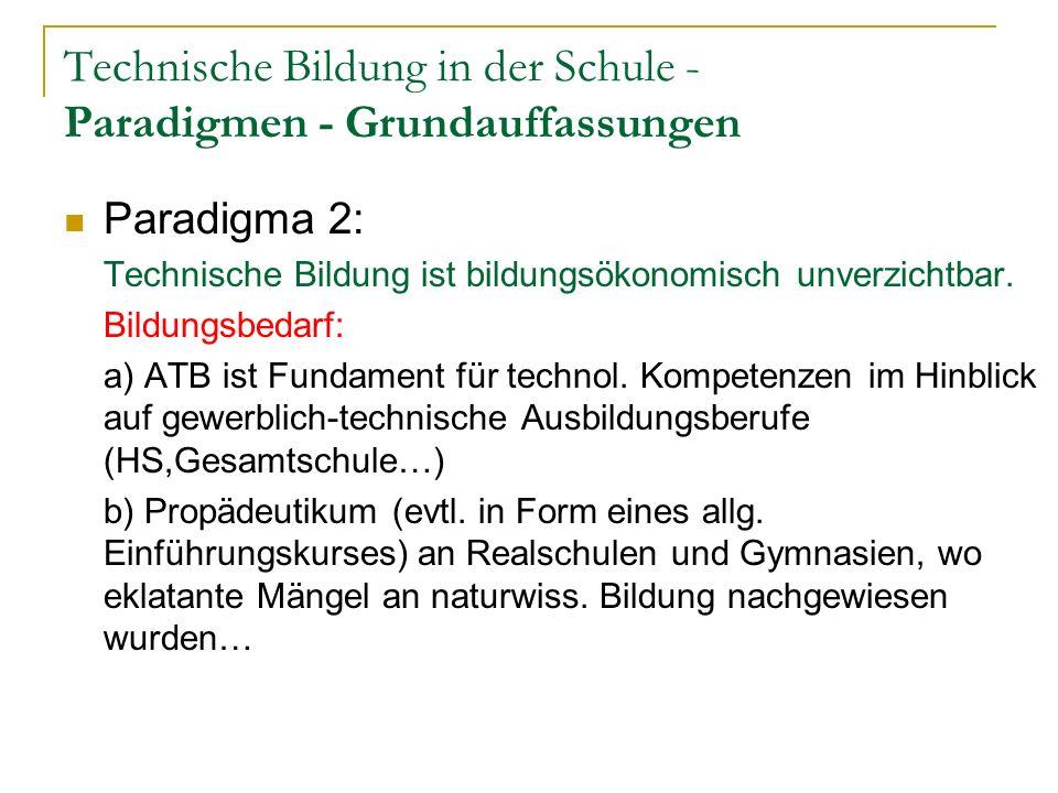 Technische Bildung in der Schule - Paradigmen - Grundauffassungen Paradigma 2: Technische Bildung ist bildungsökonomisch unverzichtbar.