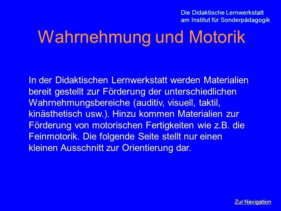 Die Didaktische Lernwerkstatt am Institut für Sonderpädagogik Wahrnehmung und Motorik In der Didaktischen Lernwerkstatt werden Materialien bereit gest