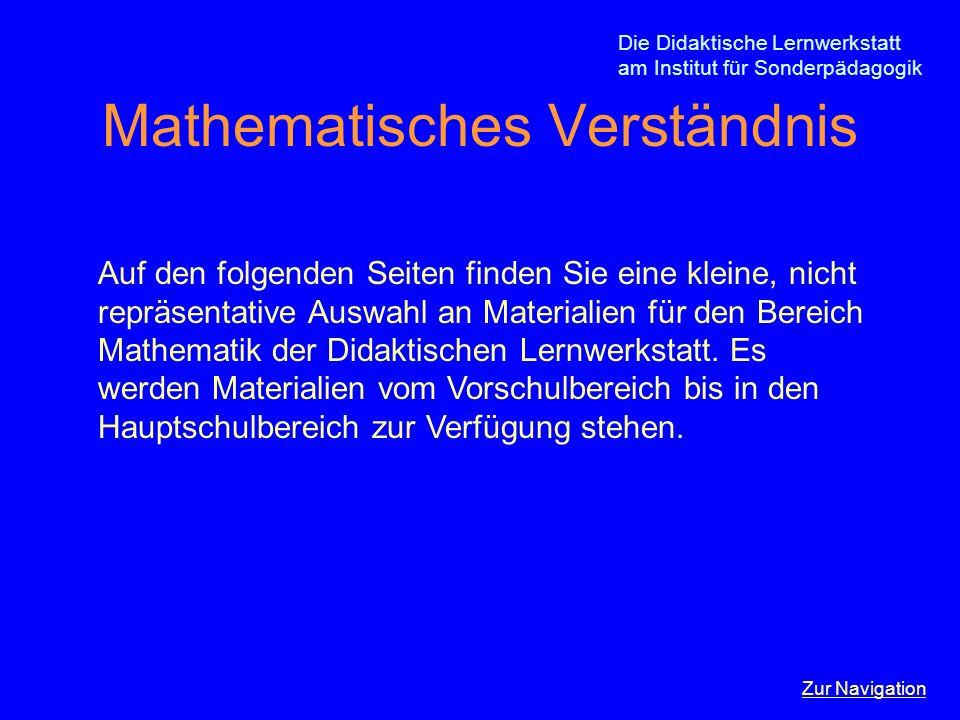 Die Didaktische Lernwerkstatt am Institut für Sonderpädagogik Mathematisches Verständnis Auf den folgenden Seiten finden Sie eine kleine, nicht repräs