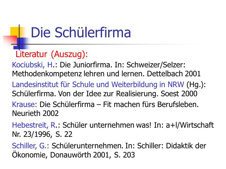 Die Schülerfirma Literatur (Auszug): Kociubski, H.: Die Juniorfirma. In: Schweizer/Selzer: Methodenkompetenz lehren und lernen. Dettelbach 2001 Landes