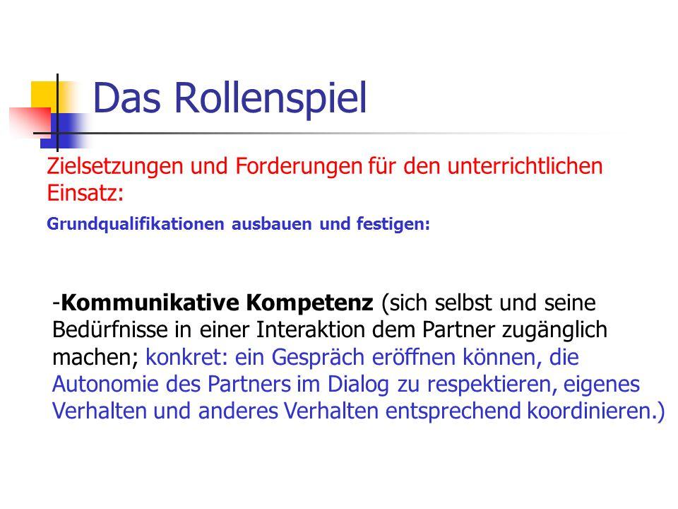 Das Rollenspiel Zielsetzungen und Forderungen für den unterrichtlichen Einsatz: Grundqualifikationen ausbauen und festigen: -Kommunikative Kompetenz (