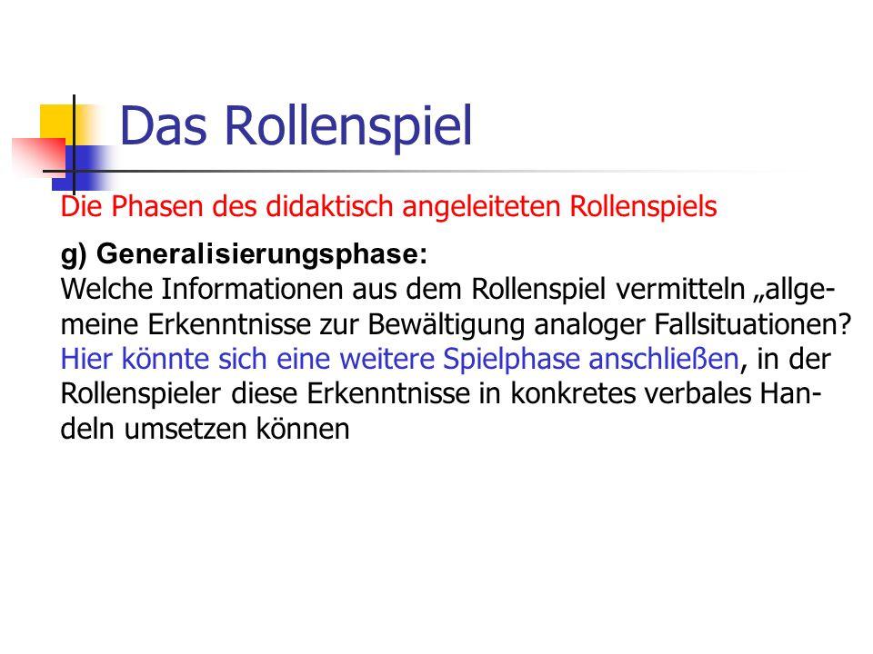 Das Rollenspiel Die Phasen des didaktisch angeleiteten Rollenspiels g) Generalisierungsphase: Welche Informationen aus dem Rollenspiel vermitteln allg