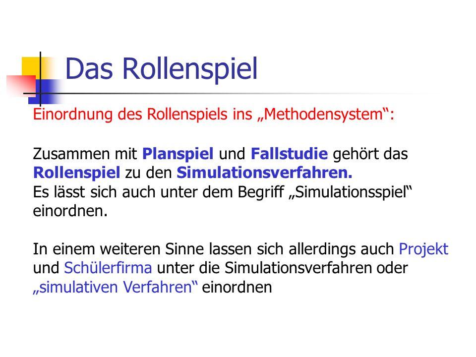 Einordnung des Rollenspiels ins Methodensystem: Zusammen mit Planspiel und Fallstudie gehört das Rollenspiel zu den Simulationsverfahren.