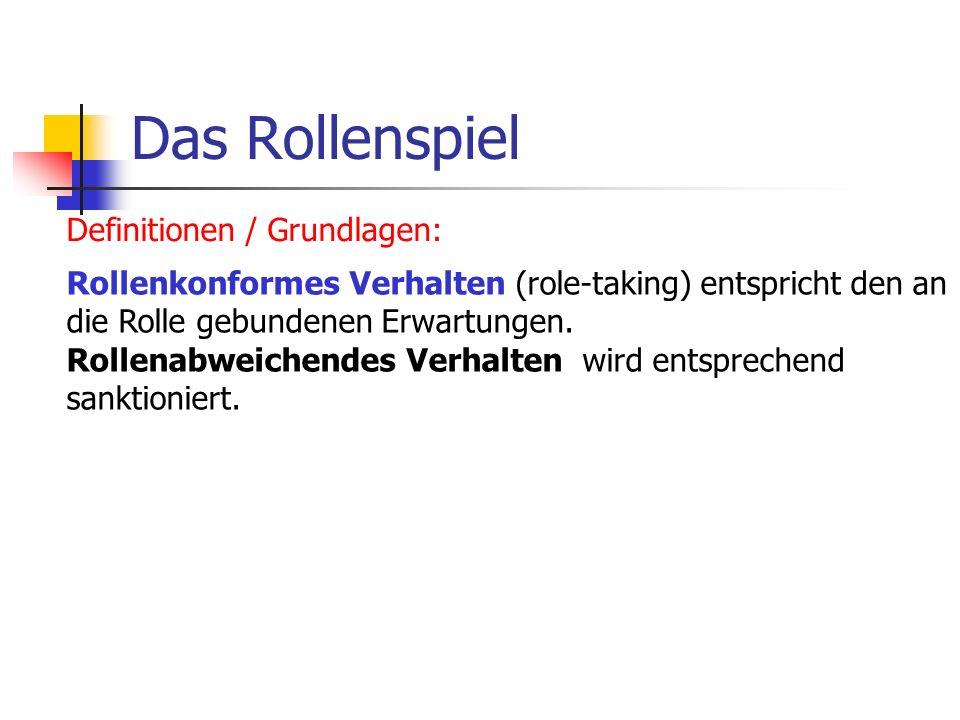 Das Rollenspiel Definitionen / Grundlagen: Rollenkonformes Verhalten (role-taking) entspricht den an die Rolle gebundenen Erwartungen. Rollenabweichen
