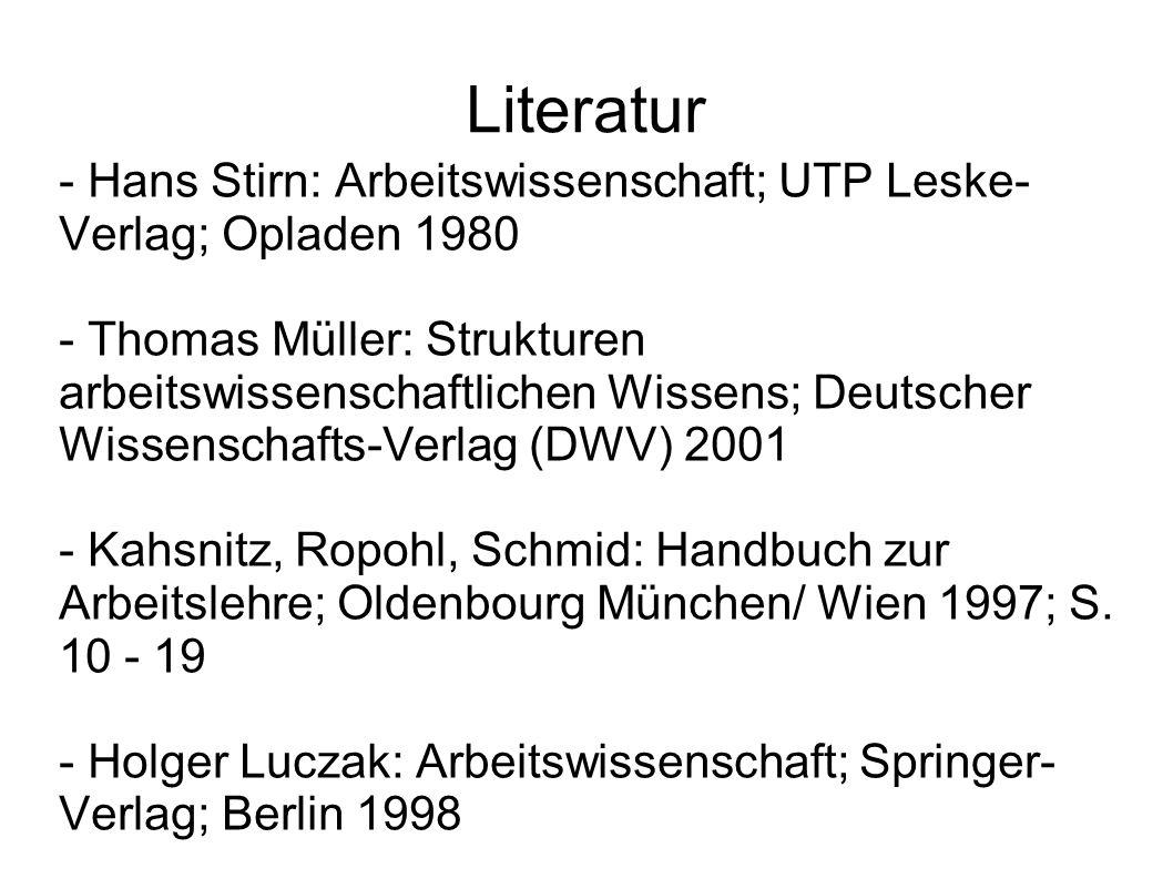 Literatur - Hans Stirn: Arbeitswissenschaft; UTP Leske- Verlag; Opladen 1980 - Thomas Müller: Strukturen arbeitswissenschaftlichen Wissens; Deutscher