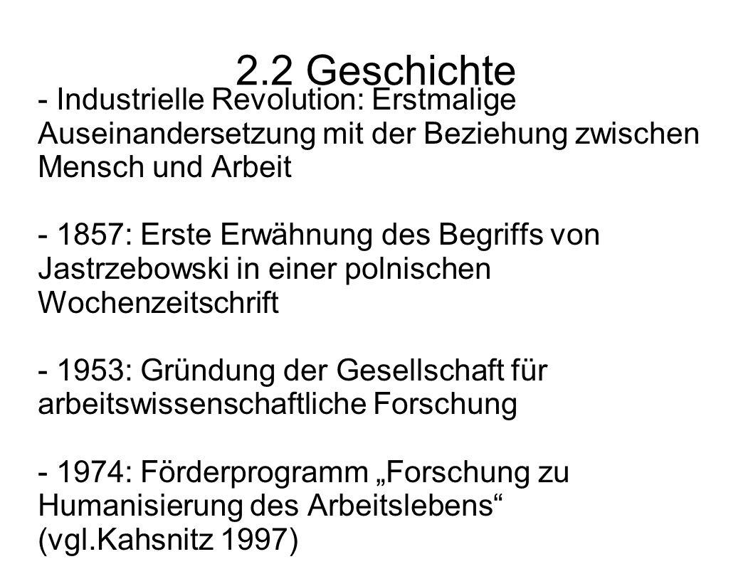 2.2 Geschichte - Industrielle Revolution: Erstmalige Auseinandersetzung mit der Beziehung zwischen Mensch und Arbeit - 1857: Erste Erwähnung des Begri
