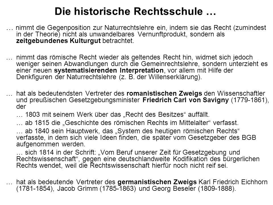 Die historische Rechtsschule … … nimmt die Gegenposition zur Naturrechtslehre ein, indem sie das Recht (zumindest in der Theorie) nicht als unwandelba