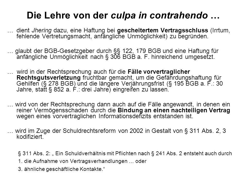 Die Lehre von der culpa in contrahendo … …dient Jhering dazu, eine Haftung bei gescheitertem Vertragsschluss (Irrtum, fehlende Vertretungsmacht, anfän