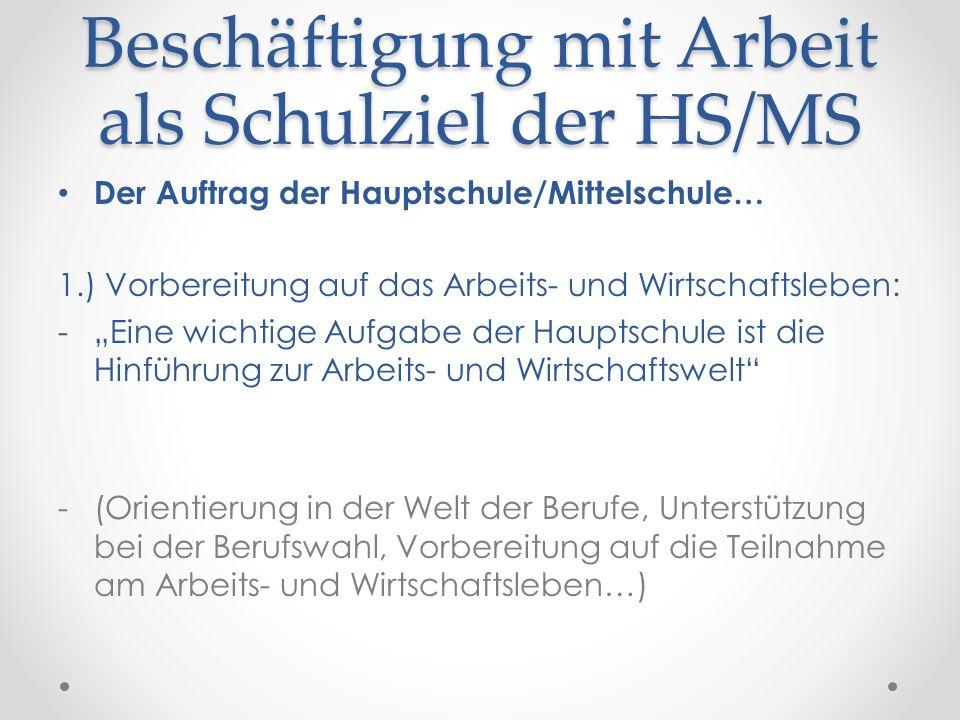Beschäftigung mit Arbeit als Schulziel der HS/MS Der Auftrag der Hauptschule/Mittelschule… 1.) Vorbereitung auf das Arbeits- und Wirtschaftsleben: -Ei