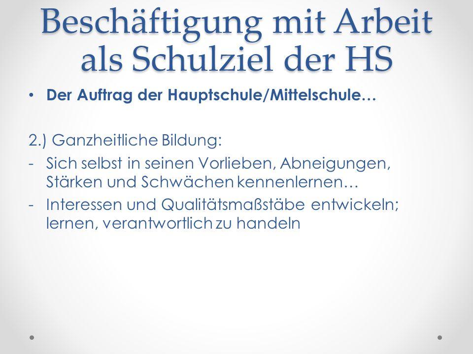 Beschäftigung mit Arbeit als Schulziel der HS Der Auftrag der Hauptschule/Mittelschule… 2.) Ganzheitliche Bildung: -Sich selbst in seinen Vorlieben, A