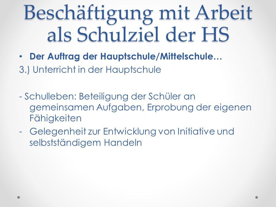 Beschäftigung mit Arbeit als Schulziel der HS Der Auftrag der Hauptschule/Mittelschule… 3.) Unterricht in der Hauptschule - Schulleben: Beteiligung de