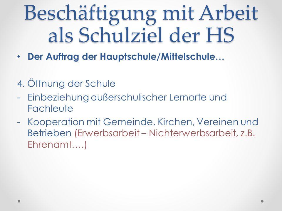 Beschäftigung mit Arbeit als Schulziel der HS Der Auftrag der Hauptschule/Mittelschule… 4. Öffnung der Schule -Einbeziehung außerschulischer Lernorte