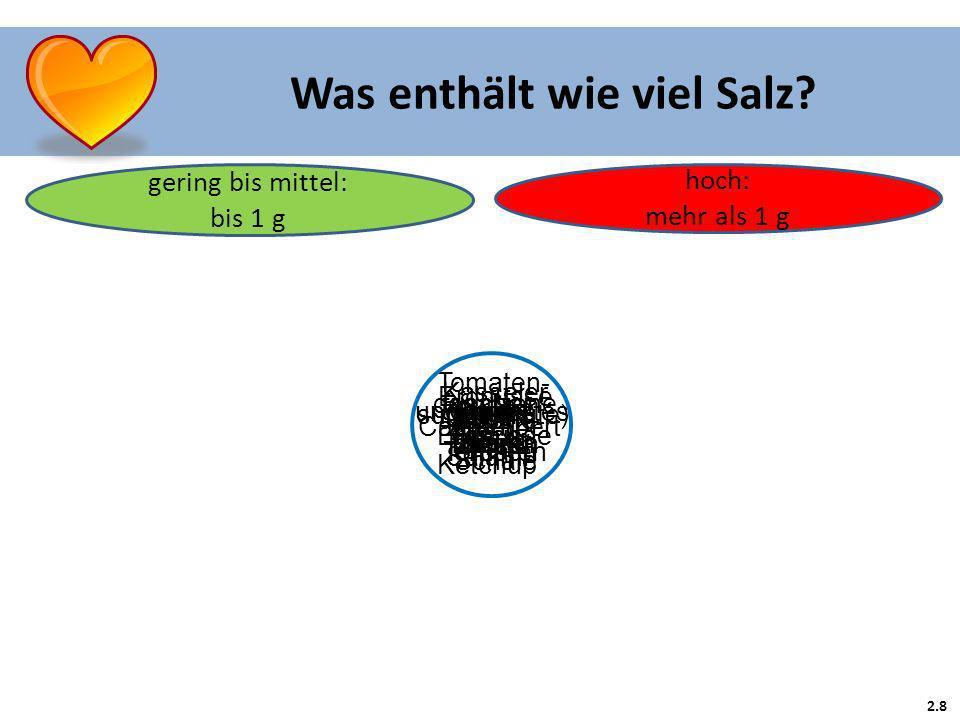 2.8 Was enthält wie viel Salz.