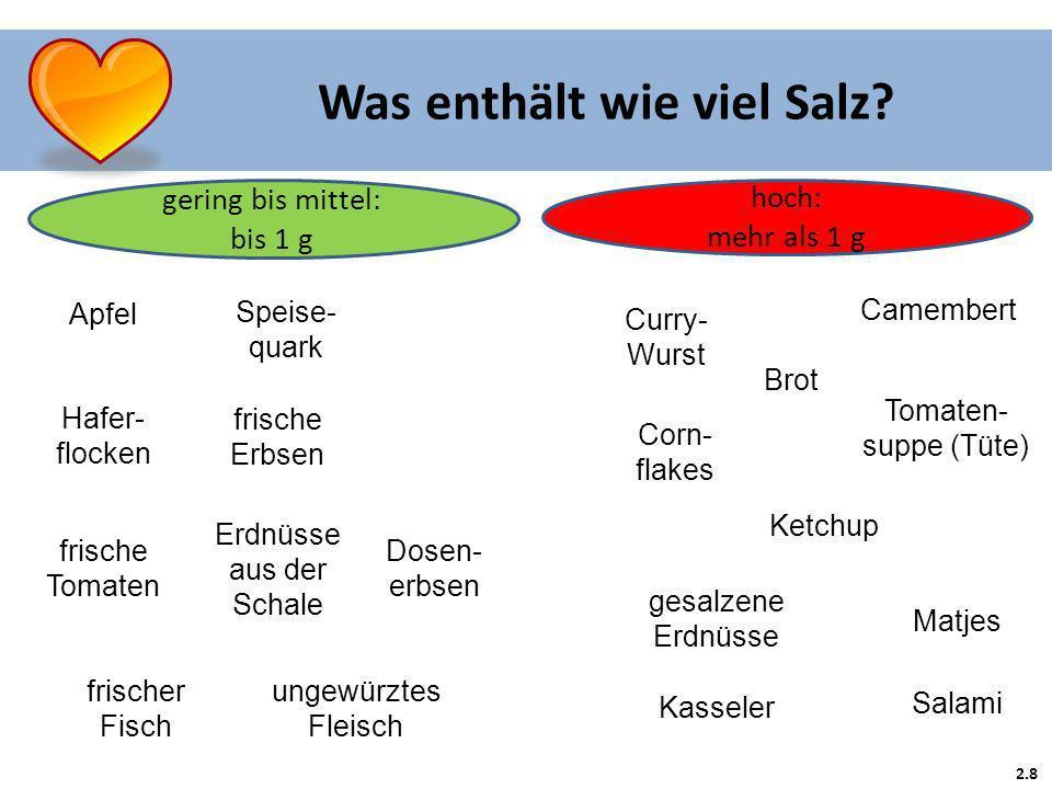 2.8 Was enthält wie viel Salz? hoch: mehr als 1 g gering bis mittel: bis 1 g Apfel Speise- quark Hafer- flocken frische Erbsen Erdnüsse aus der Schale