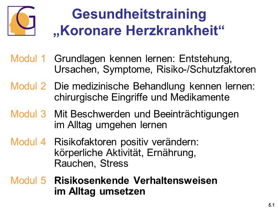 Gesundheitstraining Koronare Herzkrankheit 5.1 Modul 1 Grundlagen kennen lernen: Entstehung, Ursachen, Symptome, Risiko-/Schutzfaktoren Modul 2Die med