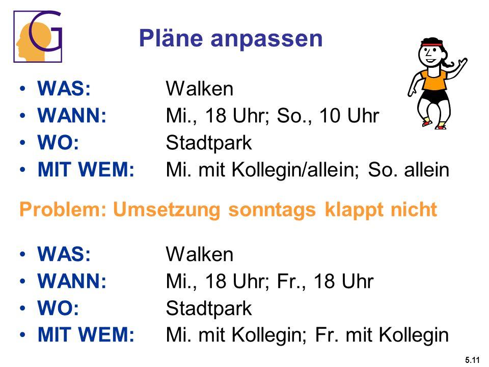 Pläne anpassen WAS: Walken WANN: Mi., 18 Uhr; So., 10 Uhr WO: Stadtpark MIT WEM: Mi. mit Kollegin/allein; So. allein Problem: Umsetzung sonntags klapp