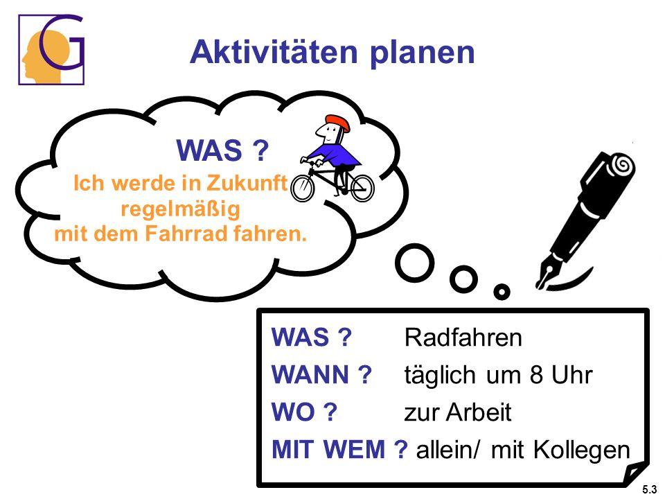 Aktivitäten planen WAS ? Ich werde in Zukunft regelmäßig mit dem Fahrrad fahren. WAS ?Radfahren WANN ?täglich um 8 Uhr WO ?zur Arbeit MIT WEM ? allein