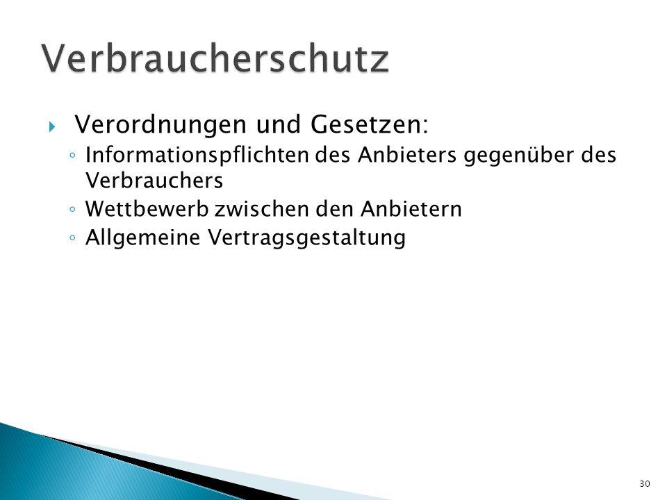 Verordnungen und Gesetzen: Informationspflichten des Anbieters gegenüber des Verbrauchers Wettbewerb zwischen den Anbietern Allgemeine Vertragsgestalt
