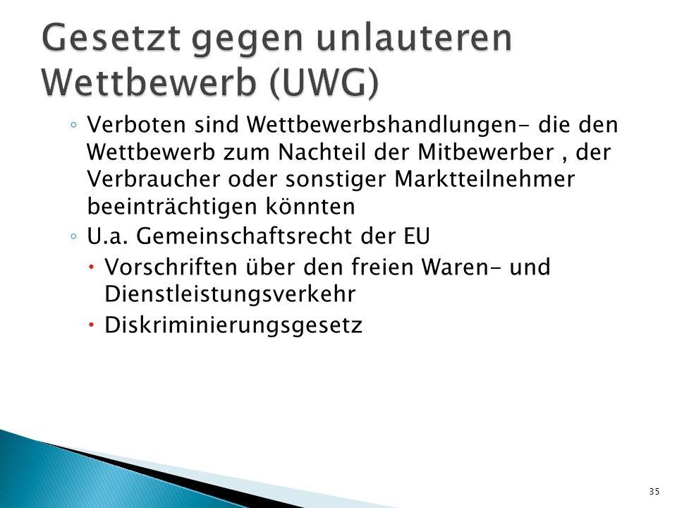 Verboten sind Wettbewerbshandlungen- die den Wettbewerb zum Nachteil der Mitbewerber, der Verbraucher oder sonstiger Marktteilnehmer beeinträchtigen könnten U.a.