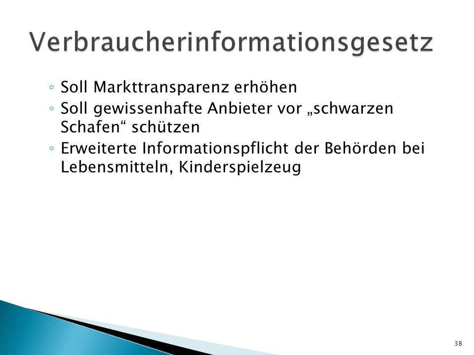 Soll Markttransparenz erhöhen Soll gewissenhafte Anbieter vor schwarzen Schafen schützen Erweiterte Informationspflicht der Behörden bei Lebensmitteln, Kinderspielzeug 38