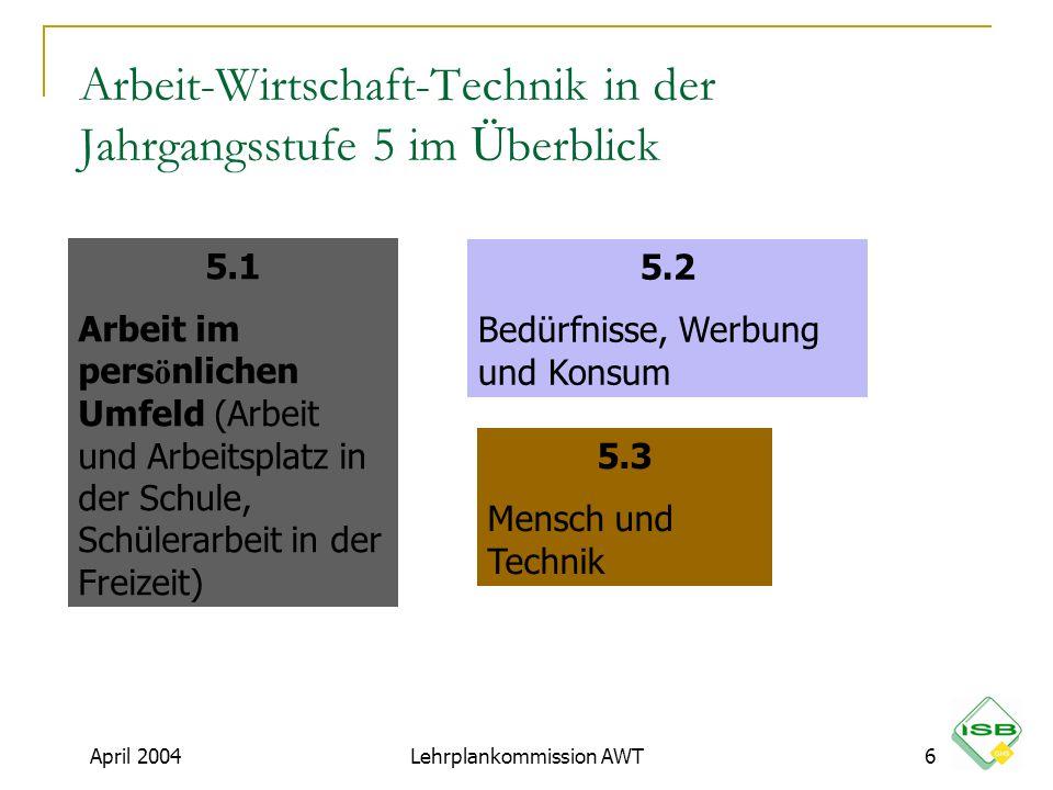 Arbeit-Wirtschaft-Technik in der Jahrgangsstufe 5 im Ü berblick 5.1 Arbeit im pers ö nlichen Umfeld (Arbeit und Arbeitsplatz in der Schule, Schülerarb