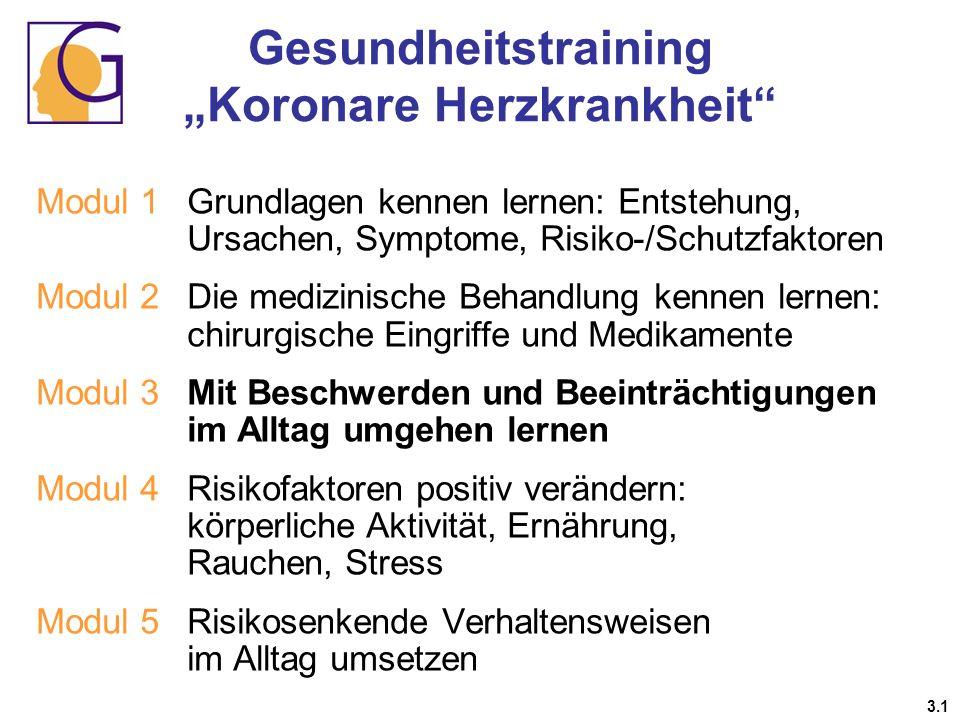 Gesundheitstraining Koronare Herzkrankheit 3.1 Modul 1 Grundlagen kennen lernen: Entstehung, Ursachen, Symptome, Risiko-/Schutzfaktoren Modul 2Die med