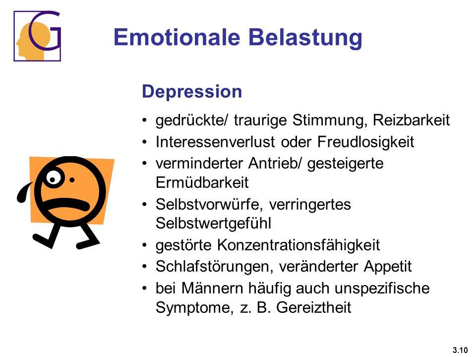 Depression gedrückte/ traurige Stimmung, Reizbarkeit Interessenverlust oder Freudlosigkeit verminderter Antrieb/ gesteigerte Ermüdbarkeit Selbstvorwür