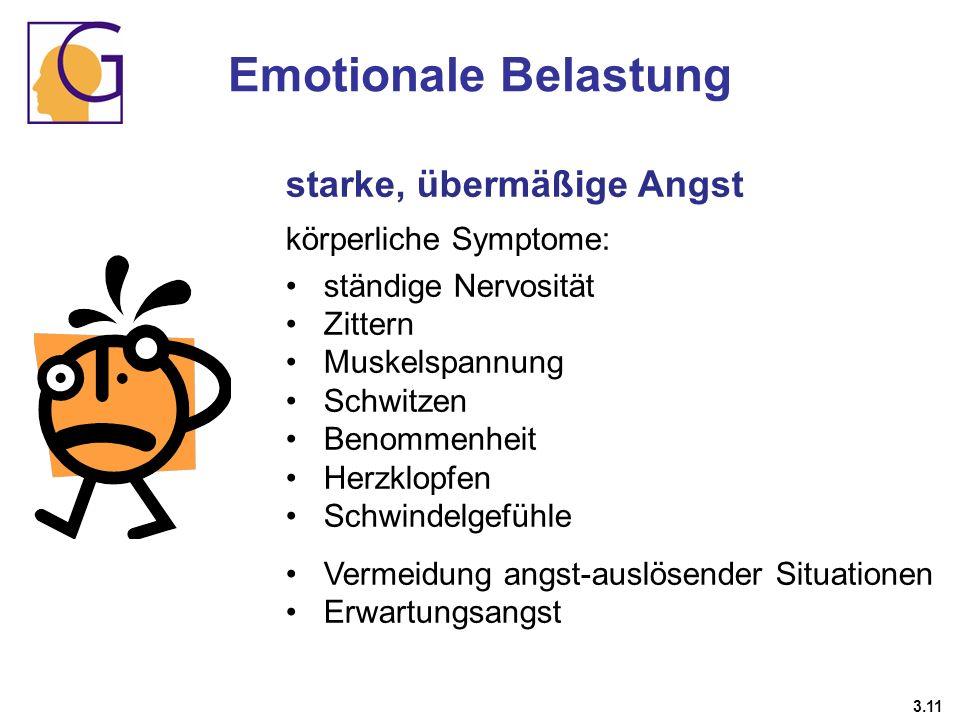 starke, übermäßige Angst körperliche Symptome: ständige Nervosität Zittern Muskelspannung Schwitzen Benommenheit Herzklopfen Schwindelgefühle Vermeidu