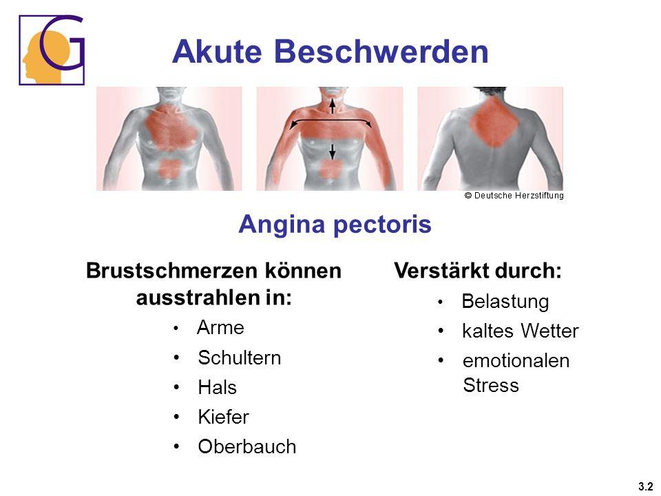 Brustschmerzen können ausstrahlen in: Arme Schultern Hals Kiefer Oberbauch Verstärkt durch: Belastung kaltes Wetter emotionalen Stress Angina pectoris