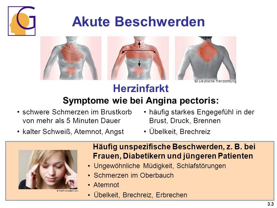 schwere Schmerzen im Brustkorb von mehr als 5 Minuten Dauer kalter Schweiß, Atemnot, Angst häufig starkes Engegefühl in der Brust, Druck, Brennen Übel