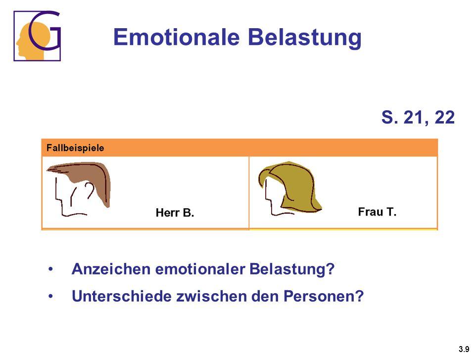 Emotionale Belastung S. 21, 22 Anzeichen emotionaler Belastung? Unterschiede zwischen den Personen? 3.9