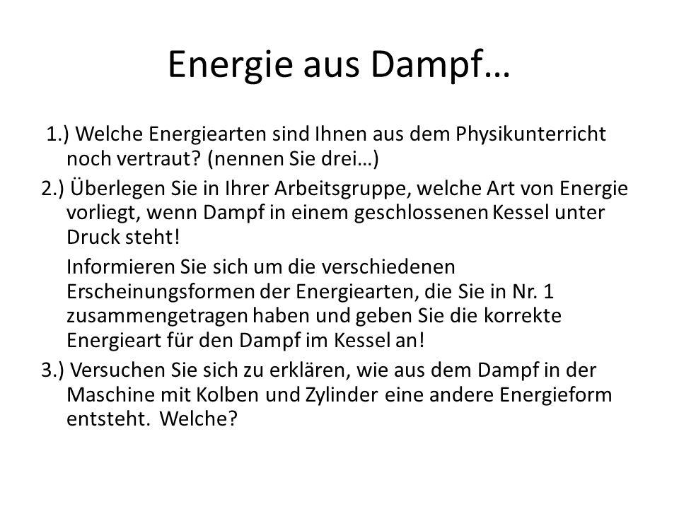 Energieformen bei der Dampfmaschine… Energieformen, die aus dem Physikunterricht bekannt sind…___________________________________________ Energie des Dampfes, der im Kessel unter Druck steht: ___________________________________________ Der Dampf aus dem Kessel strömt über den Schieber in den Zylinder, dann… ___________________________________________
