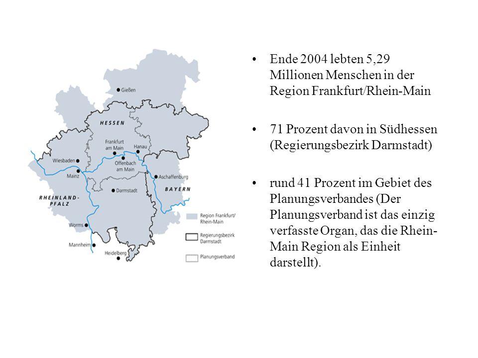 Ende 2004 lebten 5,29 Millionen Menschen in der Region Frankfurt/Rhein-Main 71 Prozent davon in Südhessen (Regierungsbezirk Darmstadt) rund 41 Prozent im Gebiet des Planungsverbandes (Der Planungsverband ist das einzig verfasste Organ, das die Rhein- Main Region als Einheit darstellt).