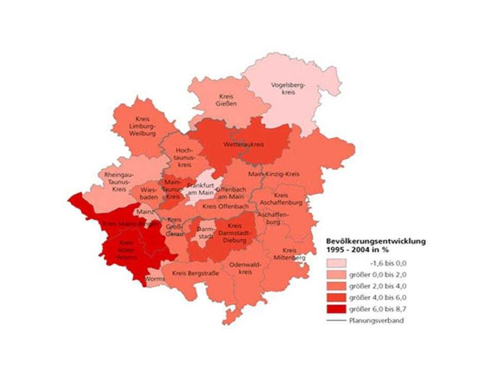 Ende 2004 lebten 5,29 Millionen Menschen in der Region Frankfurt/Rhein-Main 71 Prozent davon in Südhessen (Regierungsbezirk Darmstadt) rund 41 Prozent