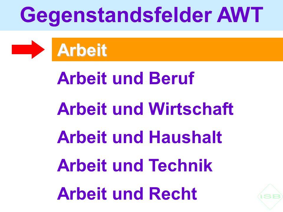 Arbeit Gegenstandsfelder AWT Arbeit und Beruf Arbeit und Wirtschaft Arbeit und Haushalt Arbeit und Technik Arbeit und Recht