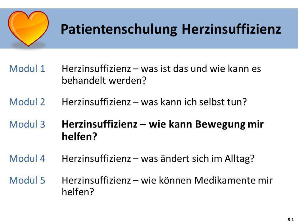 Patientenschulung Herzinsuffizienz 3.1 Modul 1 Herzinsuffizienz – was ist das und wie kann es behandelt werden? Modul 2Herzinsuffizienz – was kann ich