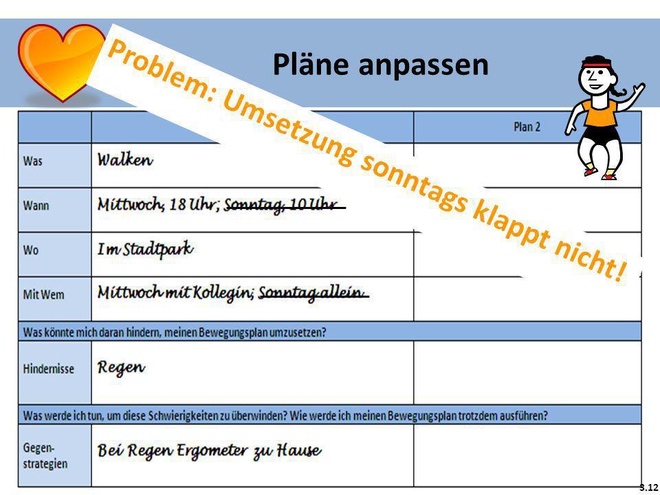 Problem: Umsetzung sonntags klappt nicht! 3.12 Pläne anpassen