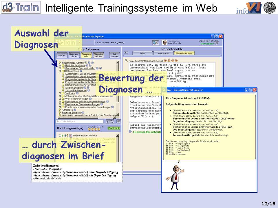 Intelligente Trainingssysteme im Web 11/15 Zugriff auf Bilder Bewertung der Antworten … … durch Markierung im Arztbrief Antworten eintragen