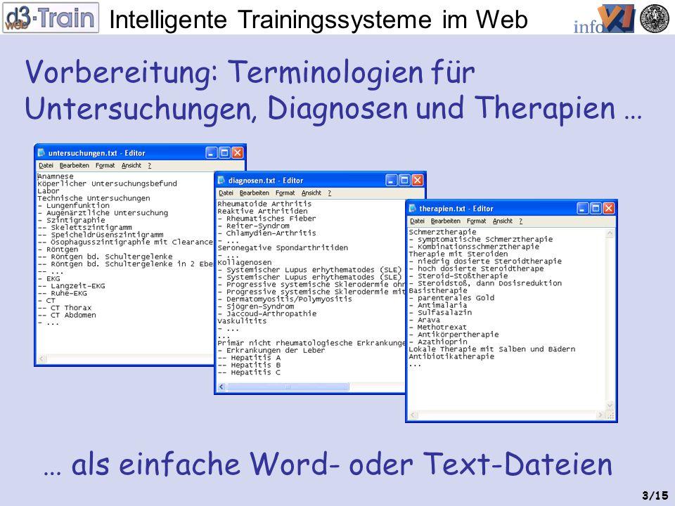 Intelligente Trainingssysteme im Web 2/15 Mediziner haben zu wenig Zeit um Autorenwerkzeuge zu Erlernen oder um aufwändige Trainingsfälle von scratch