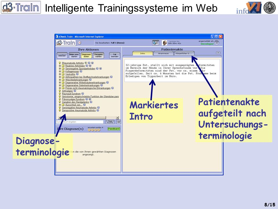 Intelligente Trainingssysteme im Web 7/15 Trainingsfall startet im Webbrowser