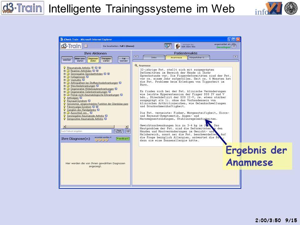 Intelligente Trainingssysteme im Web 8/15 Markiertes Intro Patientenakte aufgeteilt nach Untersuchungs- terminologie Diagnose- terminologie