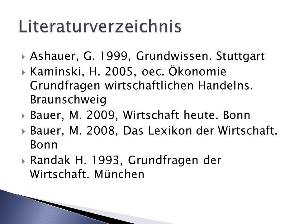 Ashauer, G. 1999, Grundwissen. Stuttgart Kaminski, H. 2005, oec. Ökonomie Grundfragen wirtschaftlichen Handelns. Braunschweig Bauer, M. 2009, Wirtscha