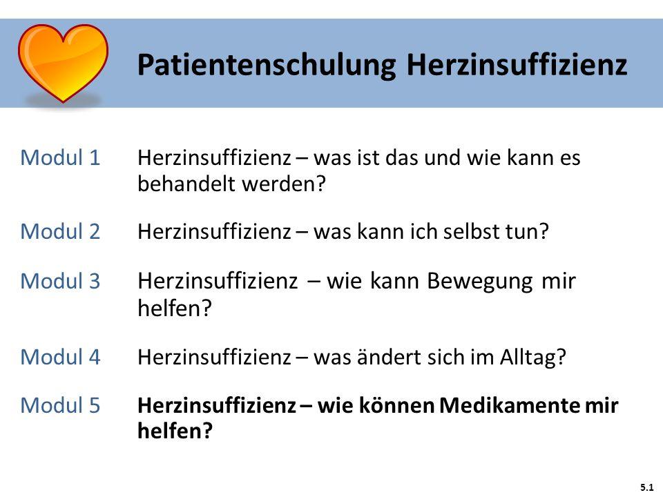 5.1 Patientenschulung Herzinsuffizienz Modul 1 Herzinsuffizienz – was ist das und wie kann es behandelt werden? Modul 2Herzinsuffizienz – was kann ich