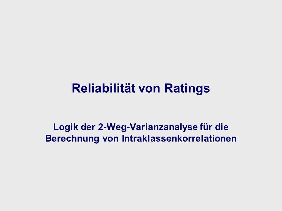 Reliabilität von Ratings Logik der 2-Weg-Varianzanalyse für die Berechnung von Intraklassenkorrelationen